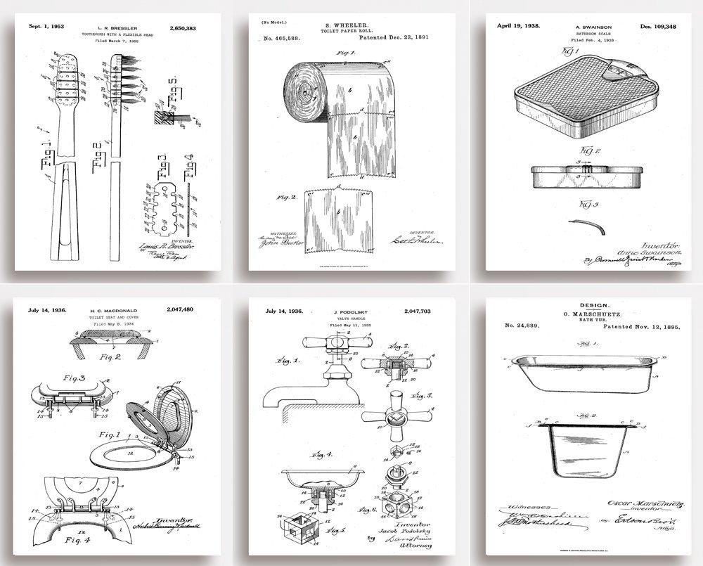 Badezimmer-Patentdrucke, witziges Geschenk für Ihr Bad, ungerahmt, 6 ...