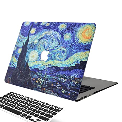 wholesale dealer 08441 03e26 MacBook Air 13 Inch Case, [Starry Night Design] Soundmae Frosted Plastic  Hard Shell Skin Smooth Touch Case & Keyboard Cover for MacBook Air 13.3  Model ...