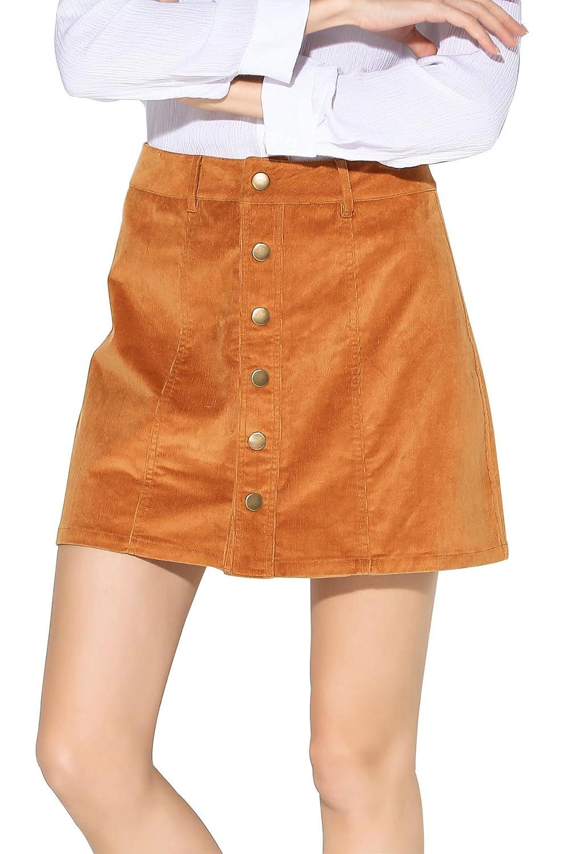 662b24c510b6 Little Smily Women s Corduroy A-line High Waist Button Front Mini Skirt at  Amazon Women s Clothing store