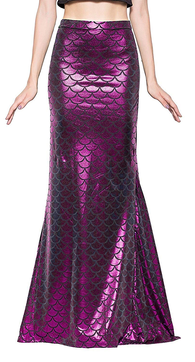 Ladies Long Iridescent Purple Fish Scale Print Stretchy Flared Mermaid Skirt - DeluxeAdultCostumes.com