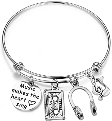 Gzrlyf Singing Bracelet Singer Charm Jewelry Music is What Feelings Sound Like Jewelry Music Teacher Gift