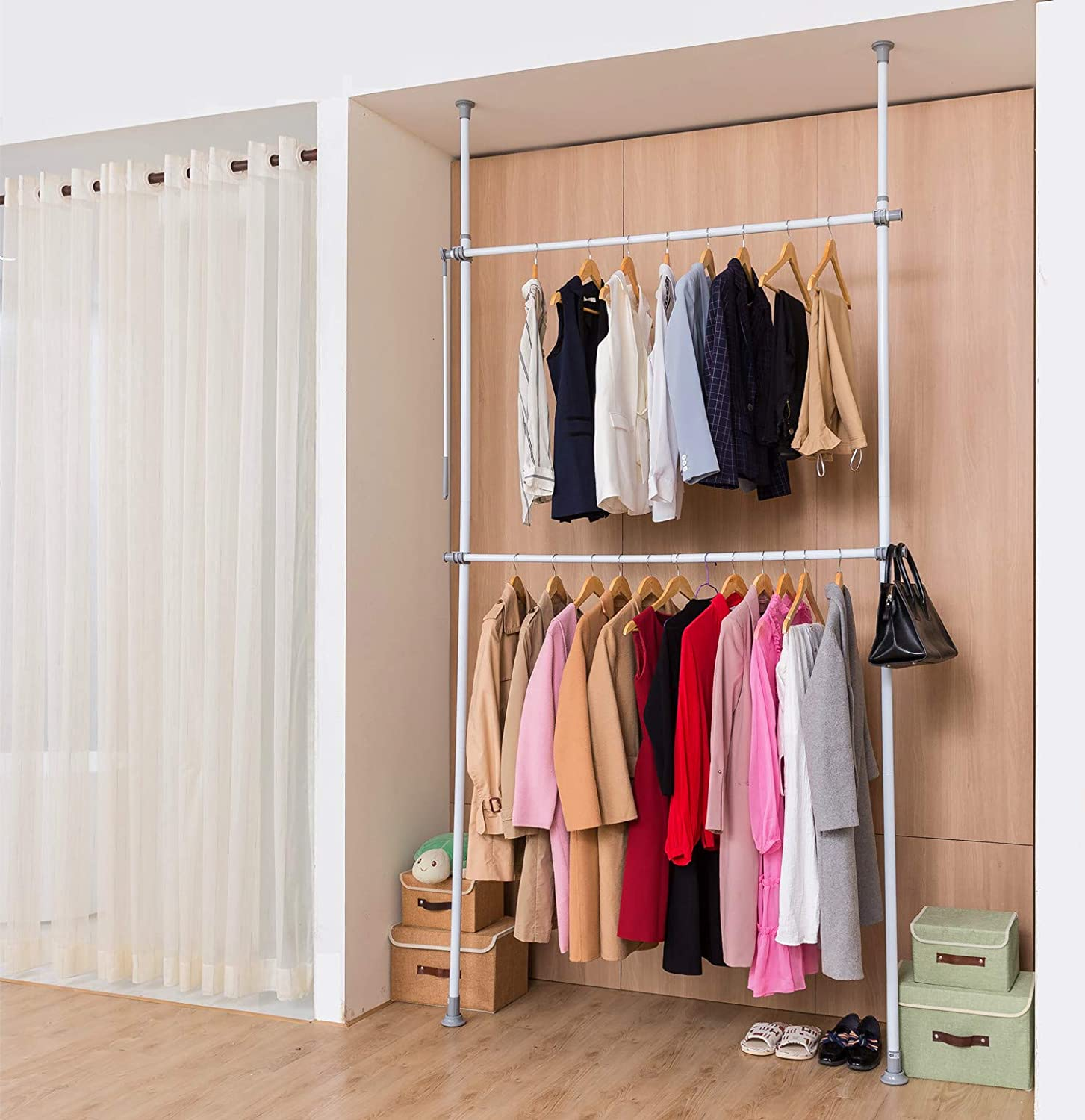Adjustable Closet Rod Double Rail,Freestanding Clothing Garment Rack Organizer System,