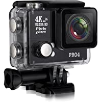 Pluto Plus Action Camera Go Pro Style 4 Sports Action Camera 20 Megapixels 4K Ultra HD Water Proof With External 3.5mm Mic Input (Black)