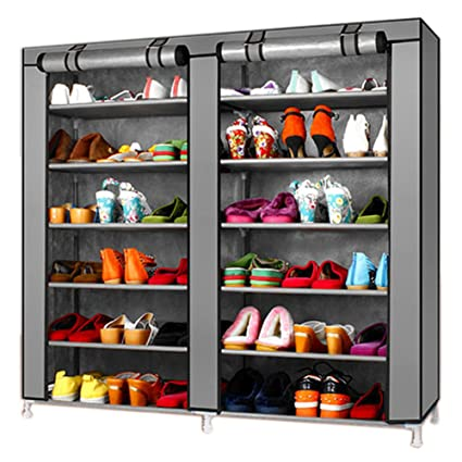 a644d7496625 TXT&BAZ 36-Pairs Portable Shoe Rack Double Row with Nonwoven Fabric Cover  (7-Tiers Silver Grey)
