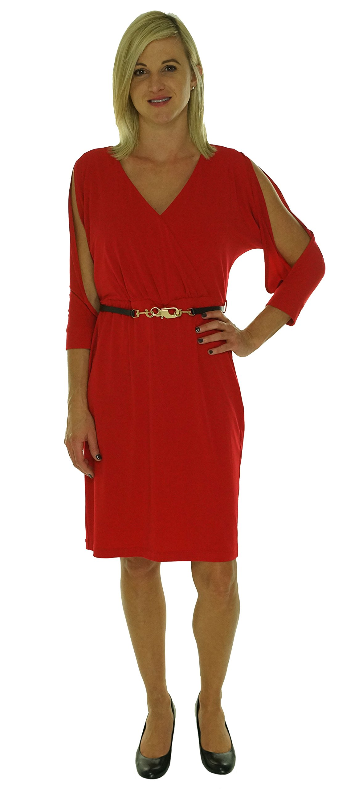 Calvin Klein Womens Matte Jersey Surplice Wear to Work Dress Red 10