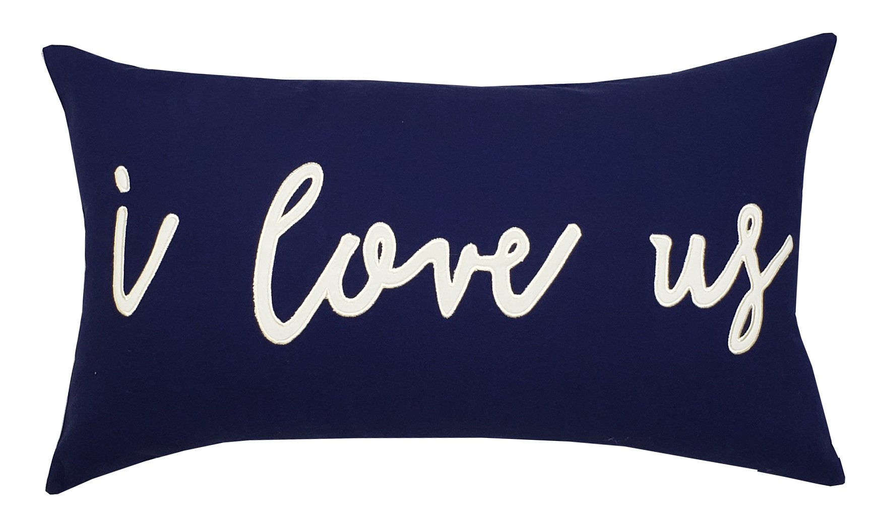 DecorHouzz I love us Appliqued Decorative Cushion Cover Pillow Cases Cover Standard Throw Pillow Case Couple Wedding Love Gift 14''x24'' (14x24, Navy) by EURASIA DECOR (Image #1)