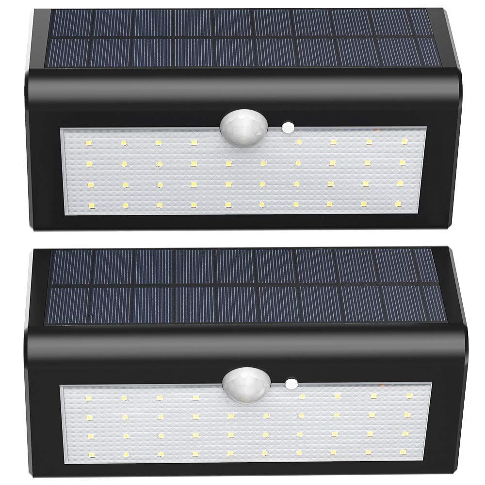 ENGREPO Solar Lights Outdoor Wall Security Lights Wireless Motion Sensor Light with IP65 Waterproof for Front Door, Yard, Garage, Garden, Patio, Deck-2 Pack