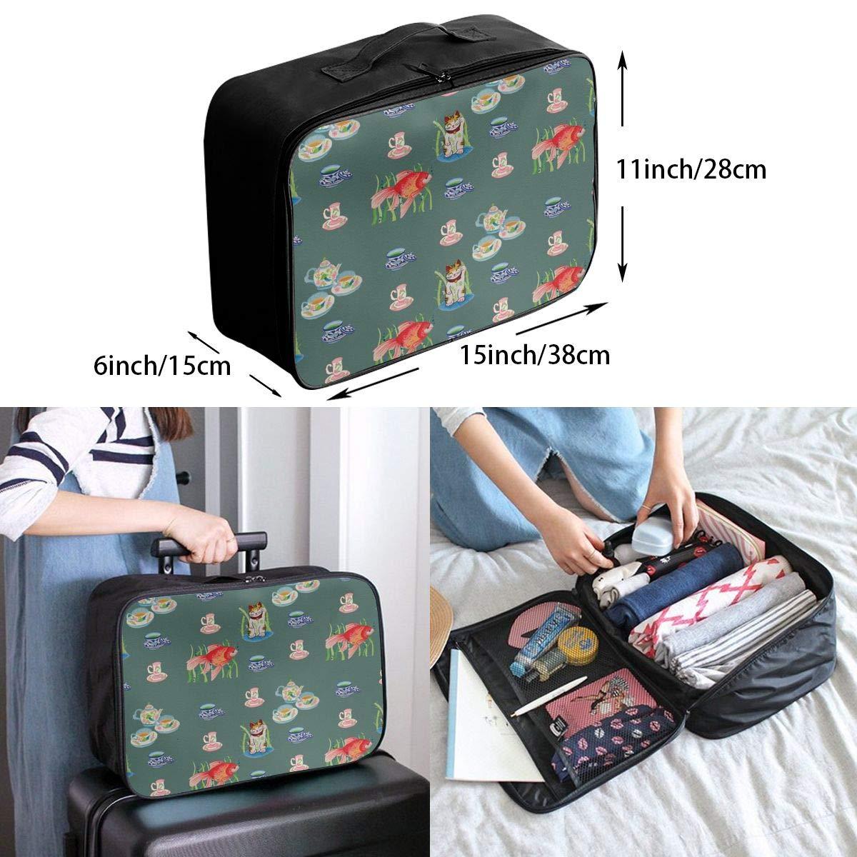 Travel Luggage Duffle Bag Lightweight Portable Handbag Cat Fish Pattern Large Capacity Waterproof Foldable Storage Tote
