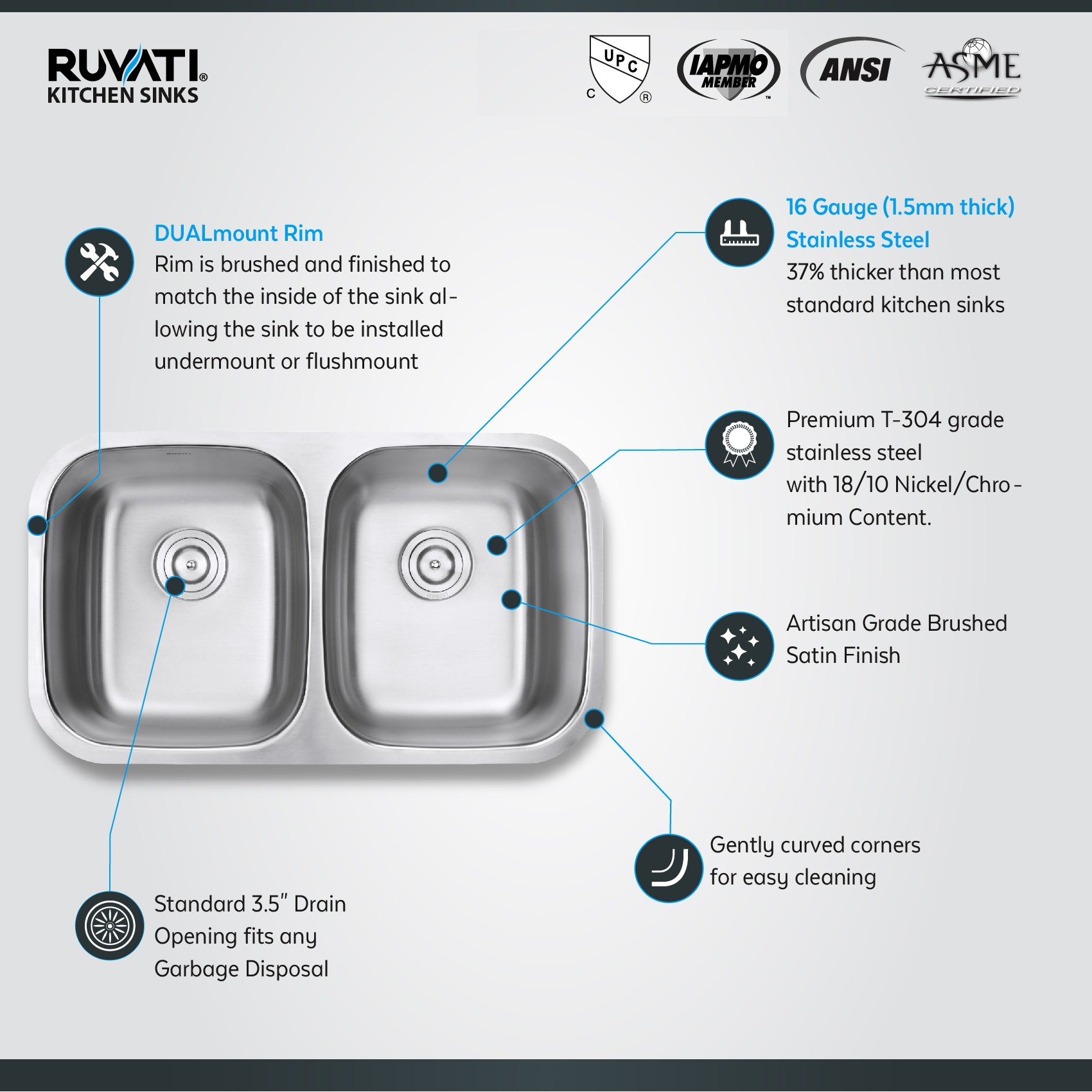 Ruvati 32-inch Undermount 50/50 Double Bowl 16 Gauge Stainless Steel Kitchen Sink - RVM4300 by Ruvati (Image #4)