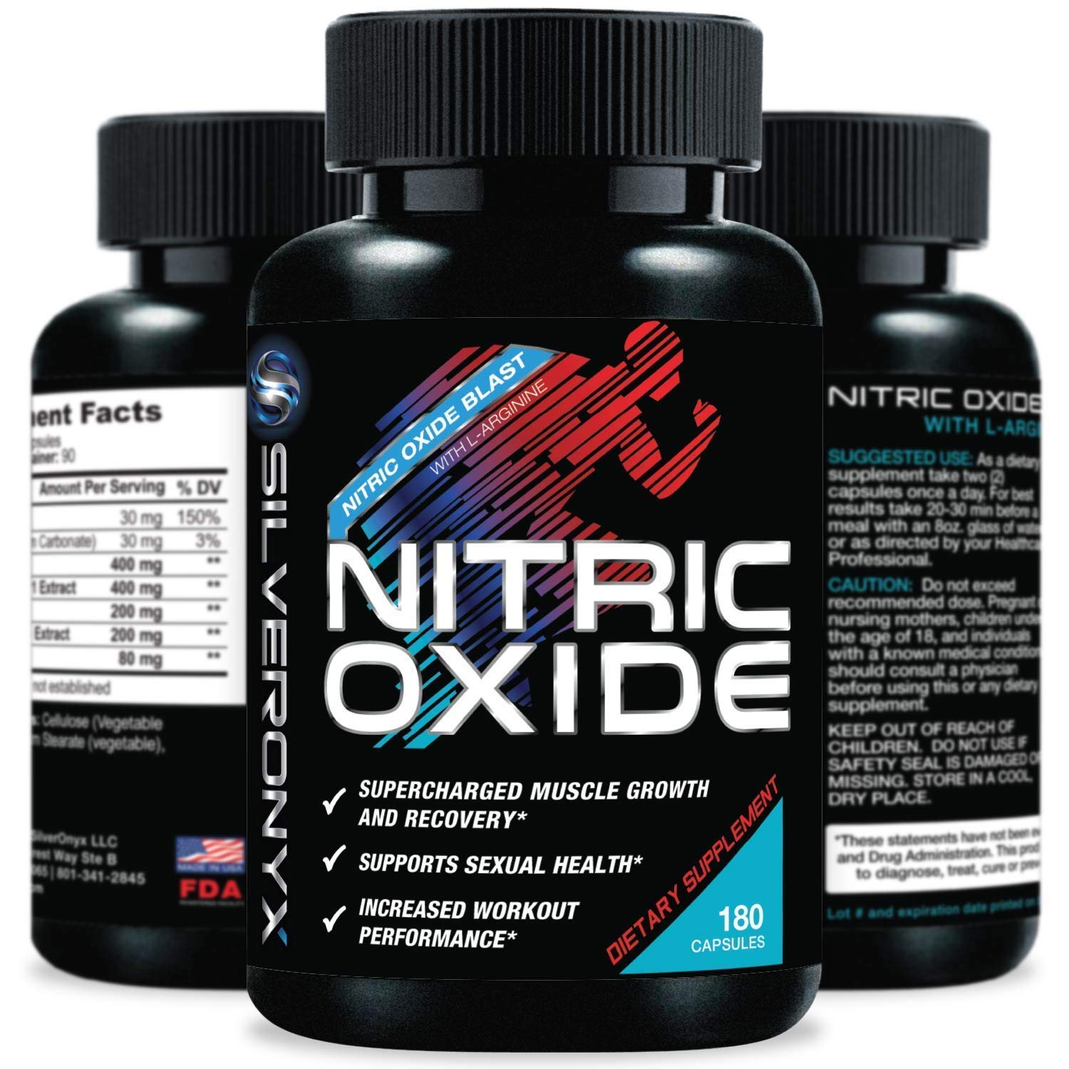 Extra Strength Nitric Oxide Supplement L Arginine 1300mg - Citrulline Malate, AAKG, Beta Alanine - Premium Muscle Building No Booster for Strength, Vascularity & Energy to Train Harder - 180 Capsules
