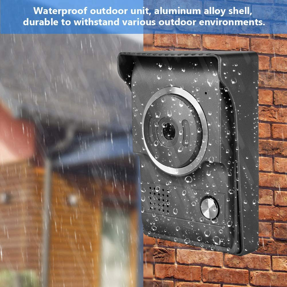 Wired Video Intercom Door Bell Infrared Night Vision Doorphone Home Security System 7Inches TFT//LCD HD Waterproof Video Doorbell US Plug 25 Kinds of Chord Sounds//Two-Way Voice Intercom