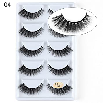 eb89d6b3a3c Amazon.com : hermosotodo SKONHED 5 Pairs Sexy Long Lashes Cross 3D Mink Hair  Extension Tools Multilayered False Eyelashes : Beauty