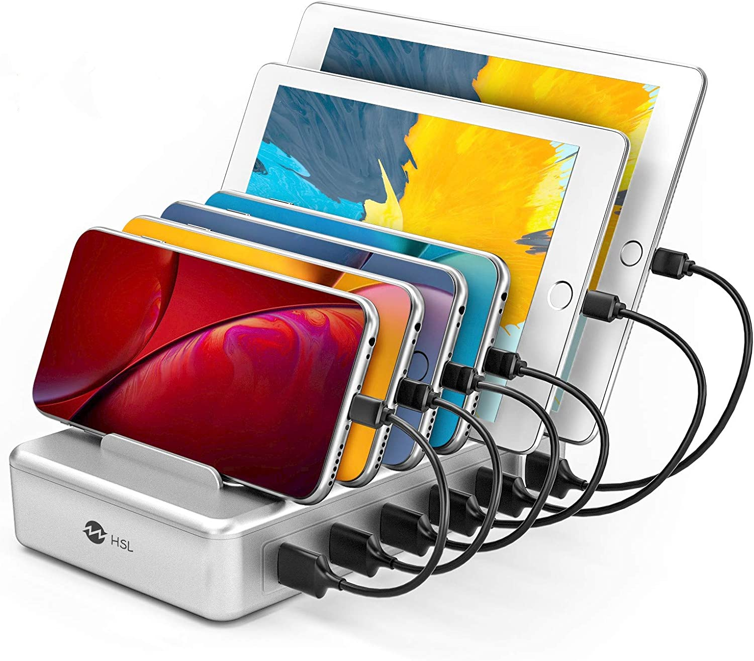 Charging Station for Multiple Devices - 6 Port Fast Charging Station for iPhone iPad Android and Tablet - Multi Charging Station - Phone Charging Station with 6 Mixed Cables Included(UL Certified)