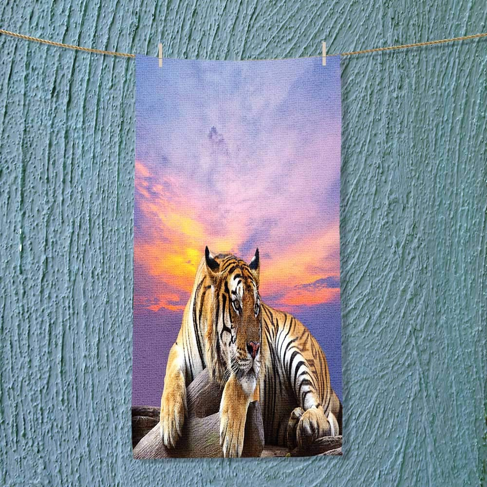 SOCOMIMI Towel Bar Tiger Lying On Wood Branch Blue Sky Colorful Sunset Pose Strpies Claws Multipurpose Quick Drying