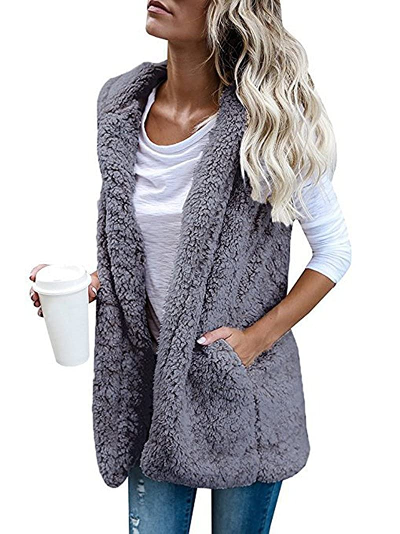 Women Sleeveless Sherpa Fleece Hooded Open Front Vest Cardigan With Pockets