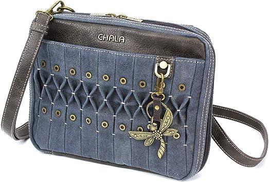 New Chala Deluxe Messenger Crossbody Bag Vegan Leather DRAGONFLY Indigo Blue