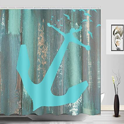 Amazon ABxinyoule Anchor Shower Curtain Rustic Nautical Wooden