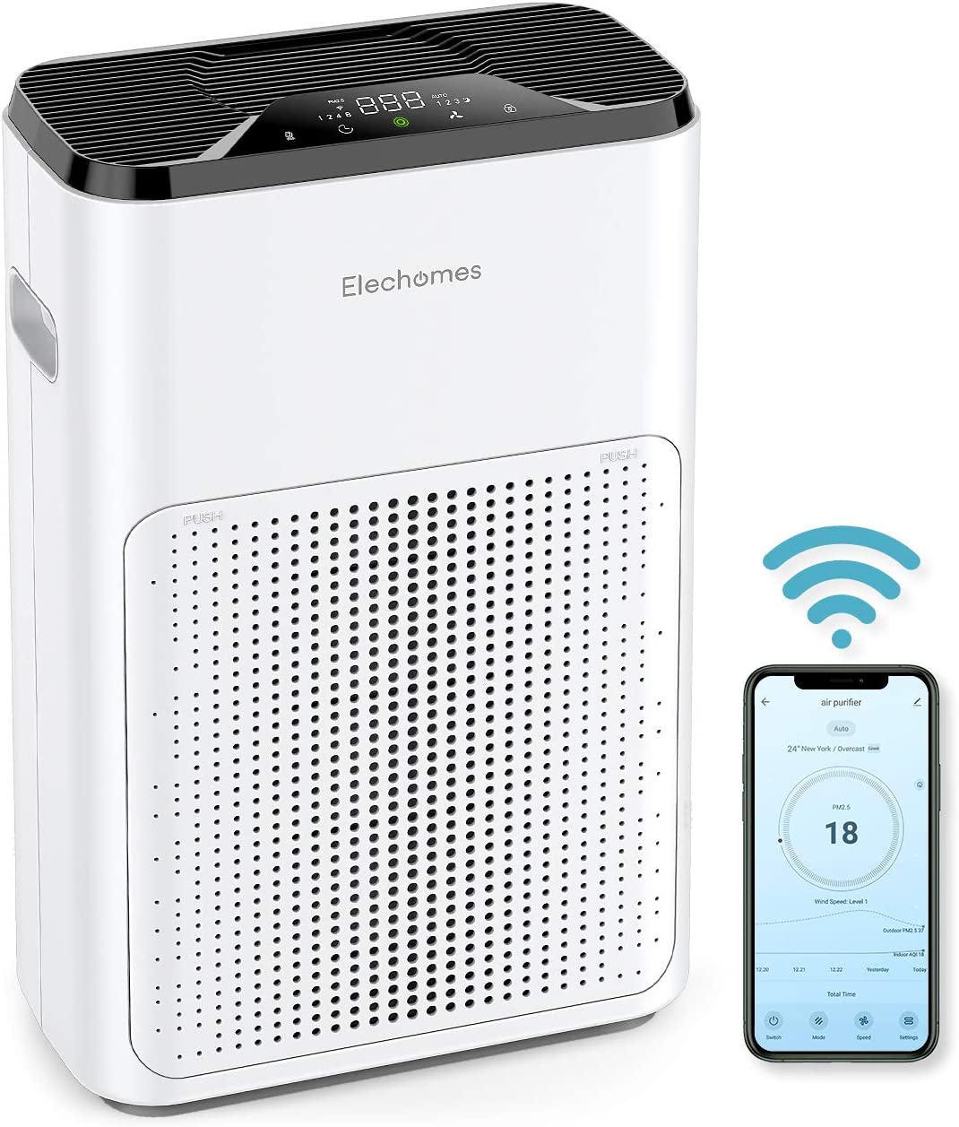 Elechomes KJ200-A3B Pro Series Air Purifier for Home Large Room with True HEPA Filter, Quiet in Bedroom Office, Air Cleaner Filter for Pets Smokers Pollen, WiFi APP Control,Air Quality Sensor 325sq.ft