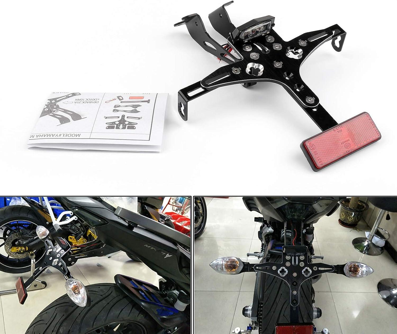 Artudatech Soporte de matr/ícula de motocicleta kit de montaje para placa de matr/ícula para Yamaha YZF MT-07 2015-2018