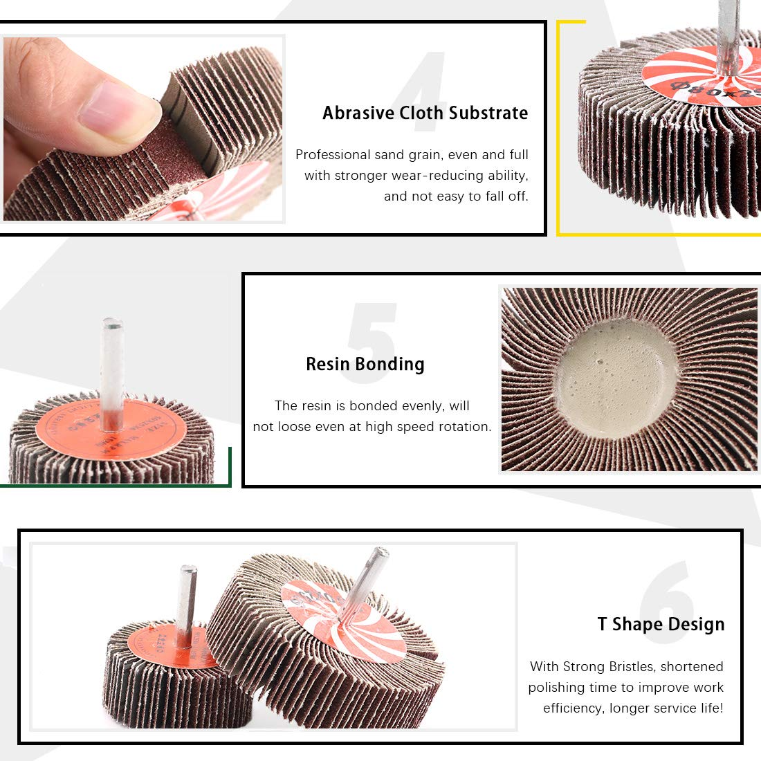 Including 2 Sanding Flap Wheels 80 Grit and 6 Wire Wheel Brushes with 1//4 Inch Shank for Rust Removal Keadic 8 Pcs Wire Wheel Brush Set Corrosion and Scrub Surfaces
