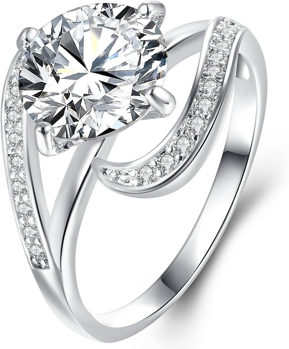 Women/'s White Sapphire Zircon Wedding Band Ring Gold Rhodium Plated Size 7
