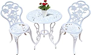 Jardin de panda Bistro Table Set 3 Piece Outdoor Patio Set Rust-Resistant Cast Aluminum White Rose Design Outdoor Table and Chairs Furniture with Umbrella Hole