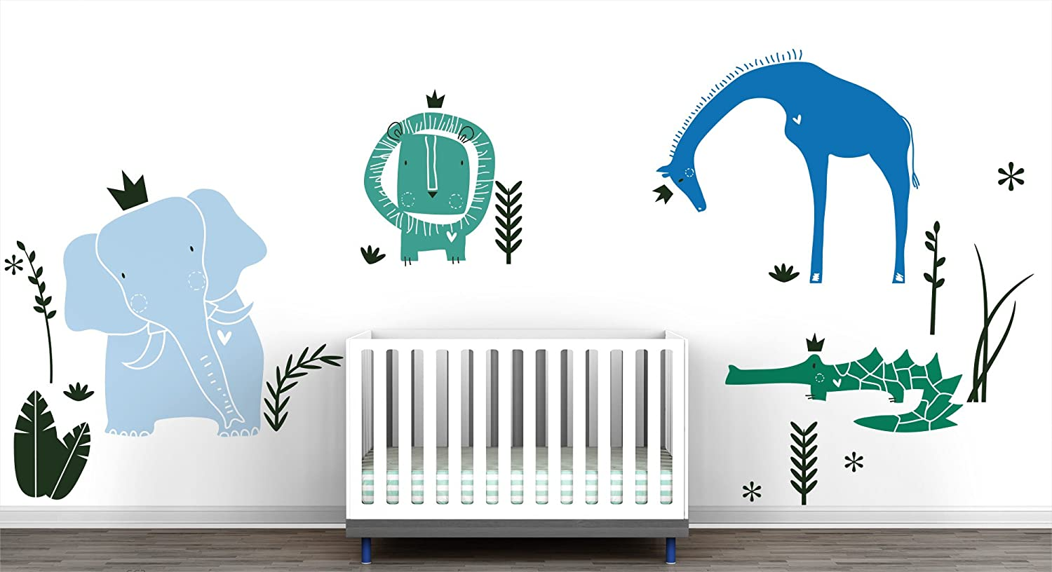 LittleLion Studio Royal Safari Wall Decal,Turquoise//Light Blue//Azure Blue//Green//Xmas Green 054006054172052061060000
