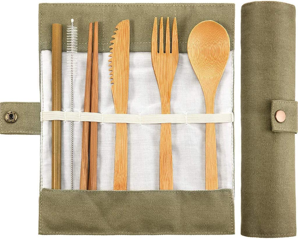 Beige KCPer Bamboo Utensils Eco Friendly Flatware Set Bamboo Cutlery Set Bamboo Travel Picnic Utensils|Camping Utensils Set Portable Utensils Set|Reusable Tableware with Storage Bags
