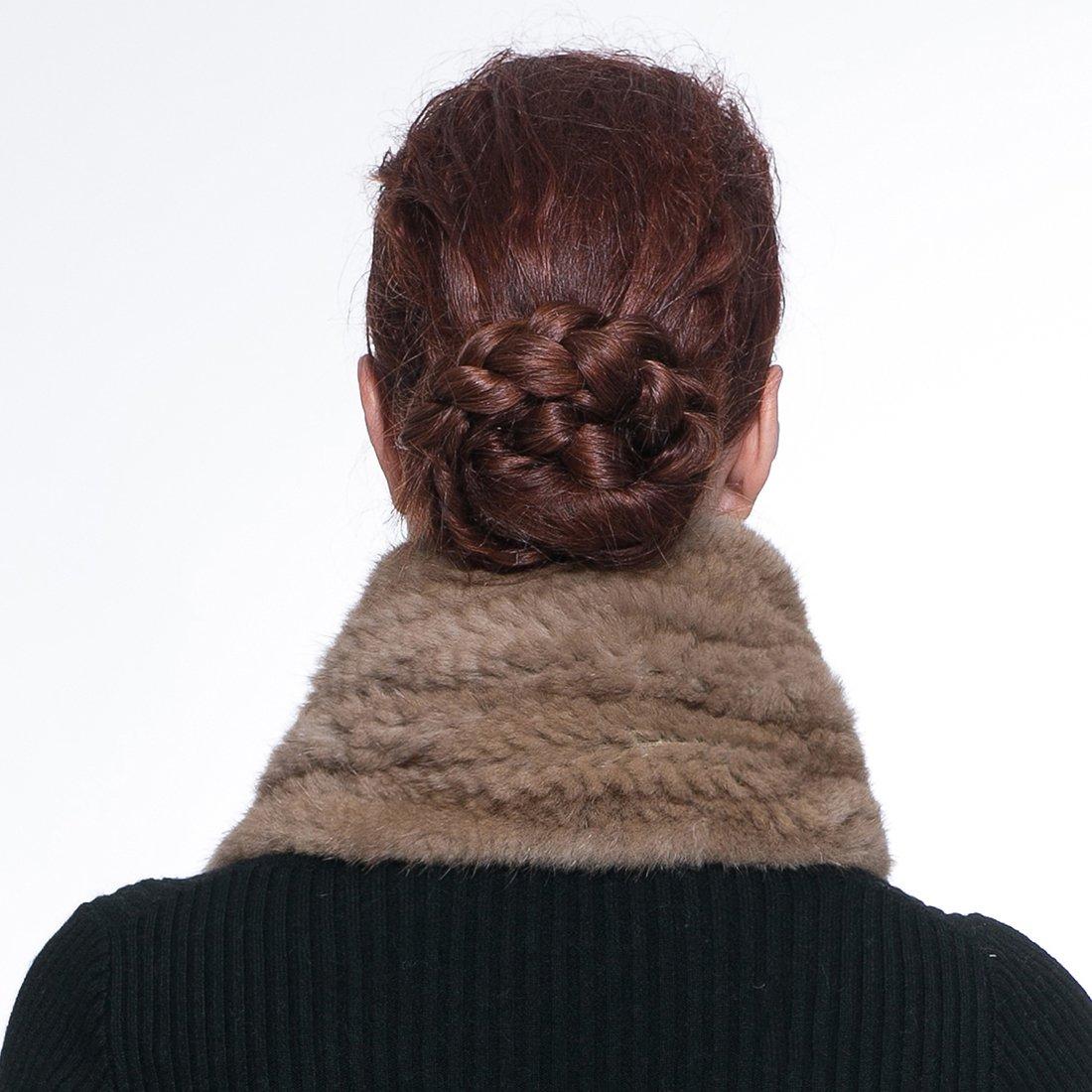 URSFUR Knitted Mink Fur Pull Through Shawl Bell Bottom Scarf