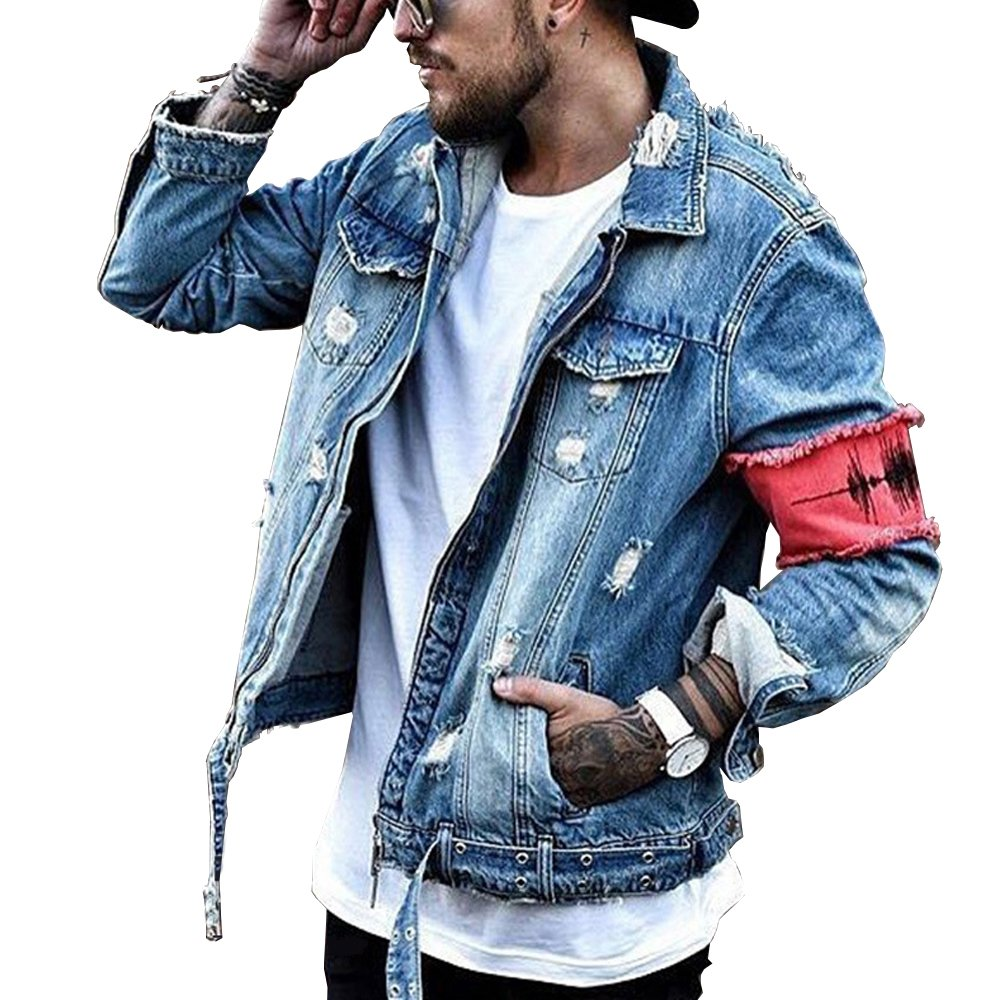 Men's Denim Jacket Ripped Distressed Jeans Jacket Rugged Trucker Jacket For Man (Blue,XL) by iooho