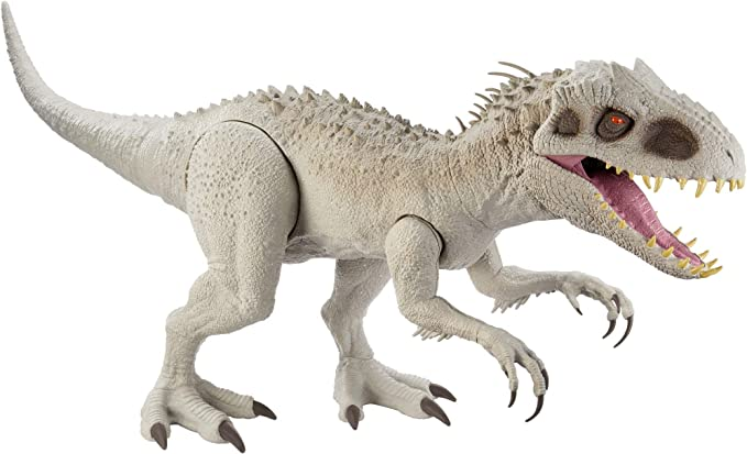 Amazon.com: Jurassic World Camp Cretaceous Isla Nublar Super Colossal Indominus Rex 18-in High & 3.5 Ft Long /45.72 x 104.14-cm Realistic Color, Movable Arms & Legs, Swallows 20 Mini Action Figures: Toys & Games