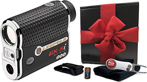 Leupold GX-5i3 Rangefinder Gift Box Bundle PlayBetter Microfiber Towel, Extra CR2 Battery, PlayBetter Pitchfix Divot Tool Magnetic Cart Mount True Range Slope Function