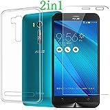 MYLB Custodia Morbida TPU + Pellicola Di Vetro Temperato Compatibile Con Asus Zenfone Go 5.5 ZB551KL Smartphone
