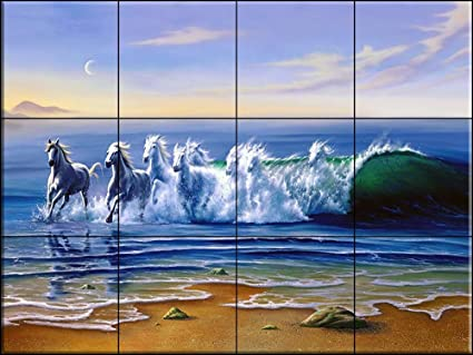 Murale di piastrelle di ceramica wild waters jw di jim warren