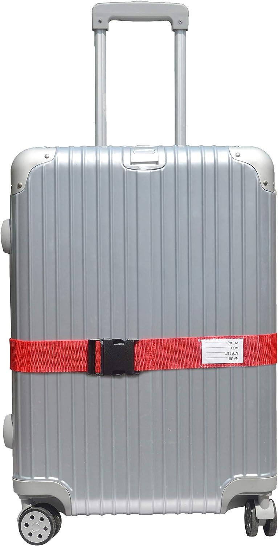 Red 4Pieces LLFSD Adjustable Luggage Straps Suitcase Belt Travel Bag Strap