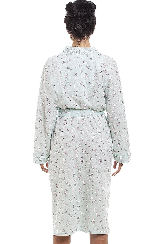 verde menta Camille Vestaglia in cotone jersey stampa floreale