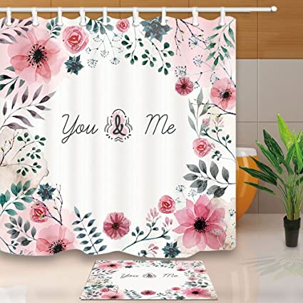 Valentines Day Shower Curtain All Sorts Of Flowers Surround Love For Seasons 708X70
