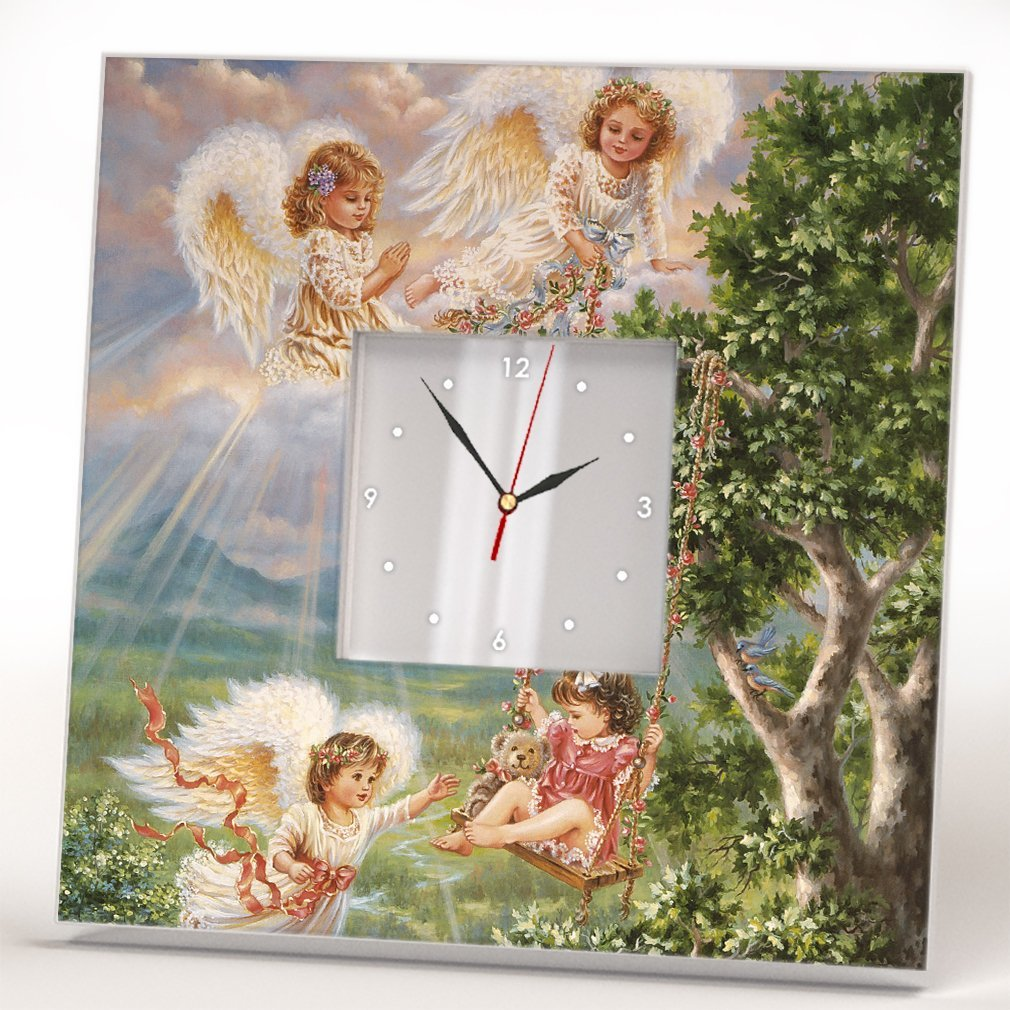 Angels Kids Paradise Wall Clock Framed Mirror Decor Art Print Home Room Design Gift Souvenir
