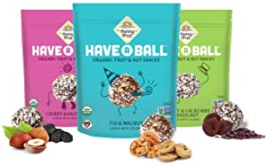 100% RAW ORGANIC Fruit & Nut Balls Variety 3-Pack - Sunny Fruit Have A Ball (3 x 9 Balls) - Whole Food Energy Snacks   NO Added Sugars or Preservatives   NON-GMO, VEGAN, GF & Kosher