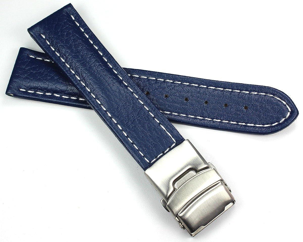 Uhrenarmband Leder 22 mm Blau Herren Uhrband WEISSE ZIERNAHT