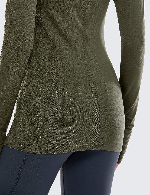 SYROKAN Donna Senza Cuciture Slim Fit Sportivo Maglietta a Manica Lunga Casual T-Shirt