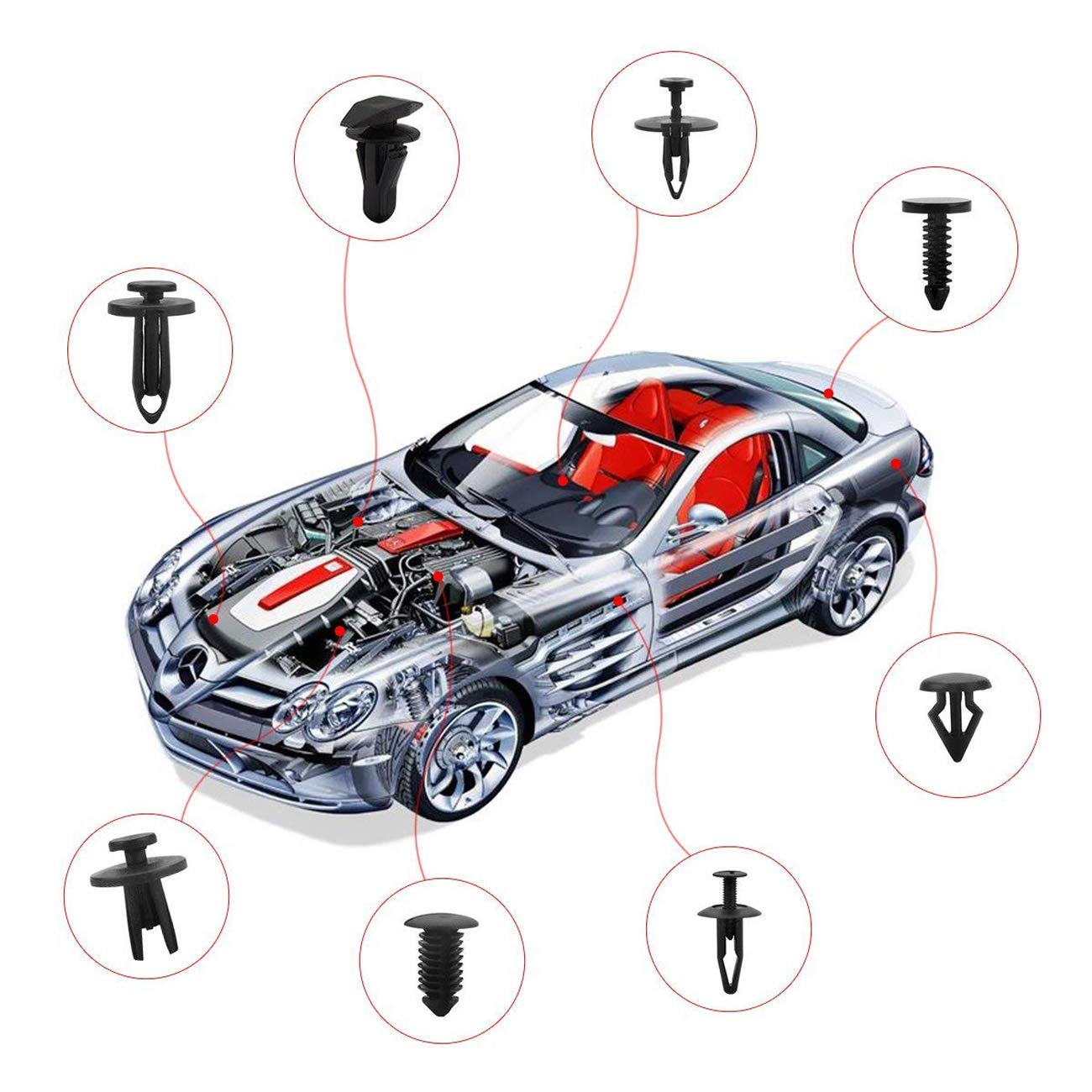 19 Most Popular Sizes Auto Push Pin Rivets Set Uolor 456 Pcs Car Retainer Clips /& Plastic Fasteners Kit with Fastener Remover Bumper Door Trim Panel Clips Assortment