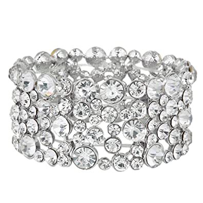 TENYE Austrian Crystal Sweet Love Heart Bridal Elastic Stretch Bracelet Buzr1VH