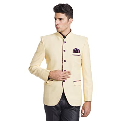 WINTAGE Men's Linen Blend Bandhgala Wedding Nehru Mandarin Blazer - Two Colors