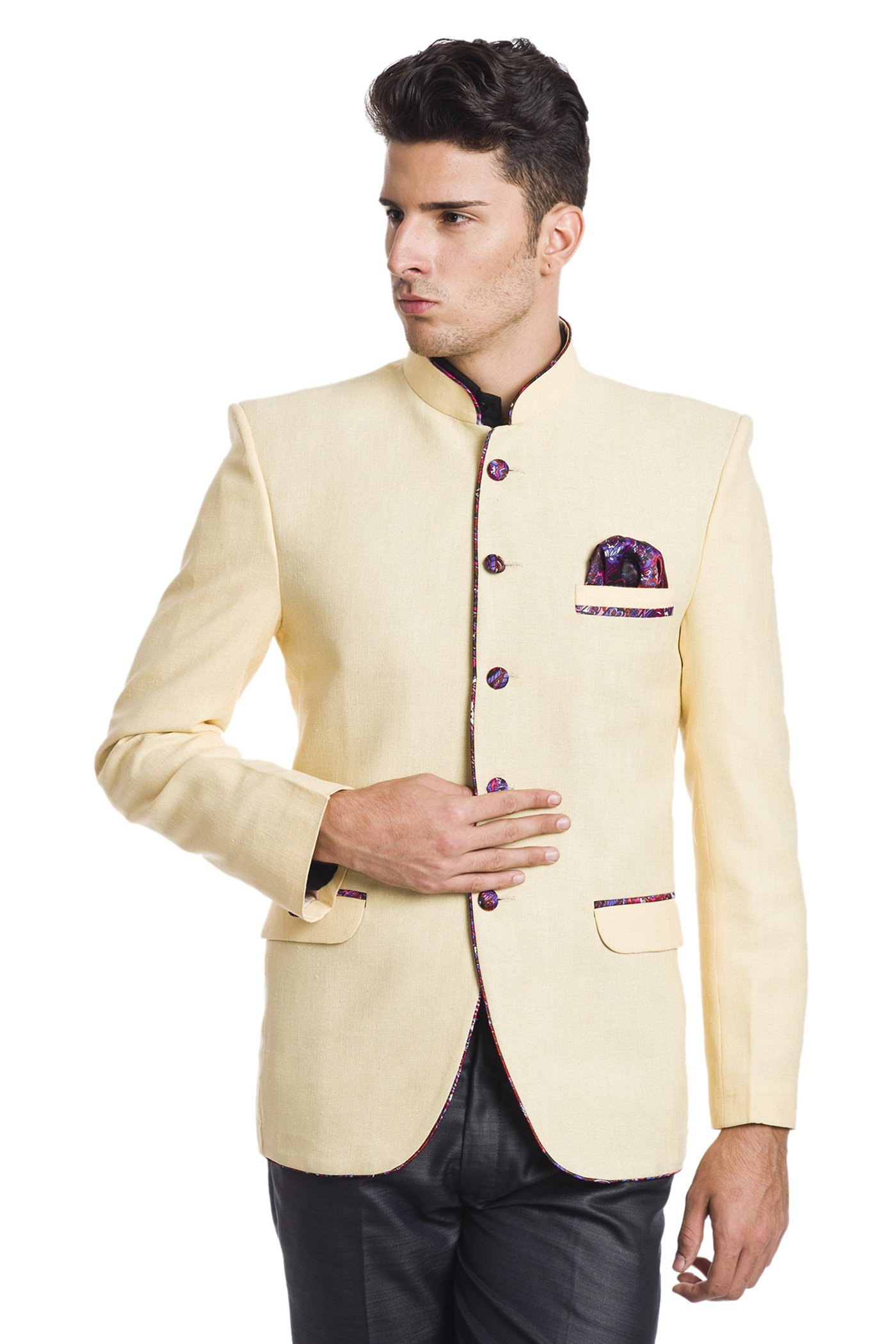 WINTAGE Men's Linen Blend Wedding Nehru Mandarin Blazer - Cream,40 Short