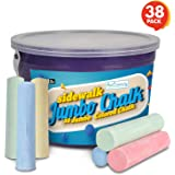 ArtCreativity Jumbo Sidewalk Chalk Set for Kids - 38 Colorful Chalk Pieces in a Storage Bucket - Portable, Dust Free and Washable - For Driveway, Pavement, Outdoors - Great Arts and Crafts Gift
