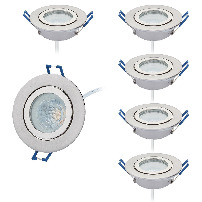 Set da LED Faretto da incasso, bagno, IP44230V piatta solo 25mm profondità, Spazzolato rotonda con emissione 60° 6X regolabile Modulo LED bianco caldo 3000K, 430lumen, RA > 80, foro 60mm [Classe di efficienza energetica A+] HC LIGHT