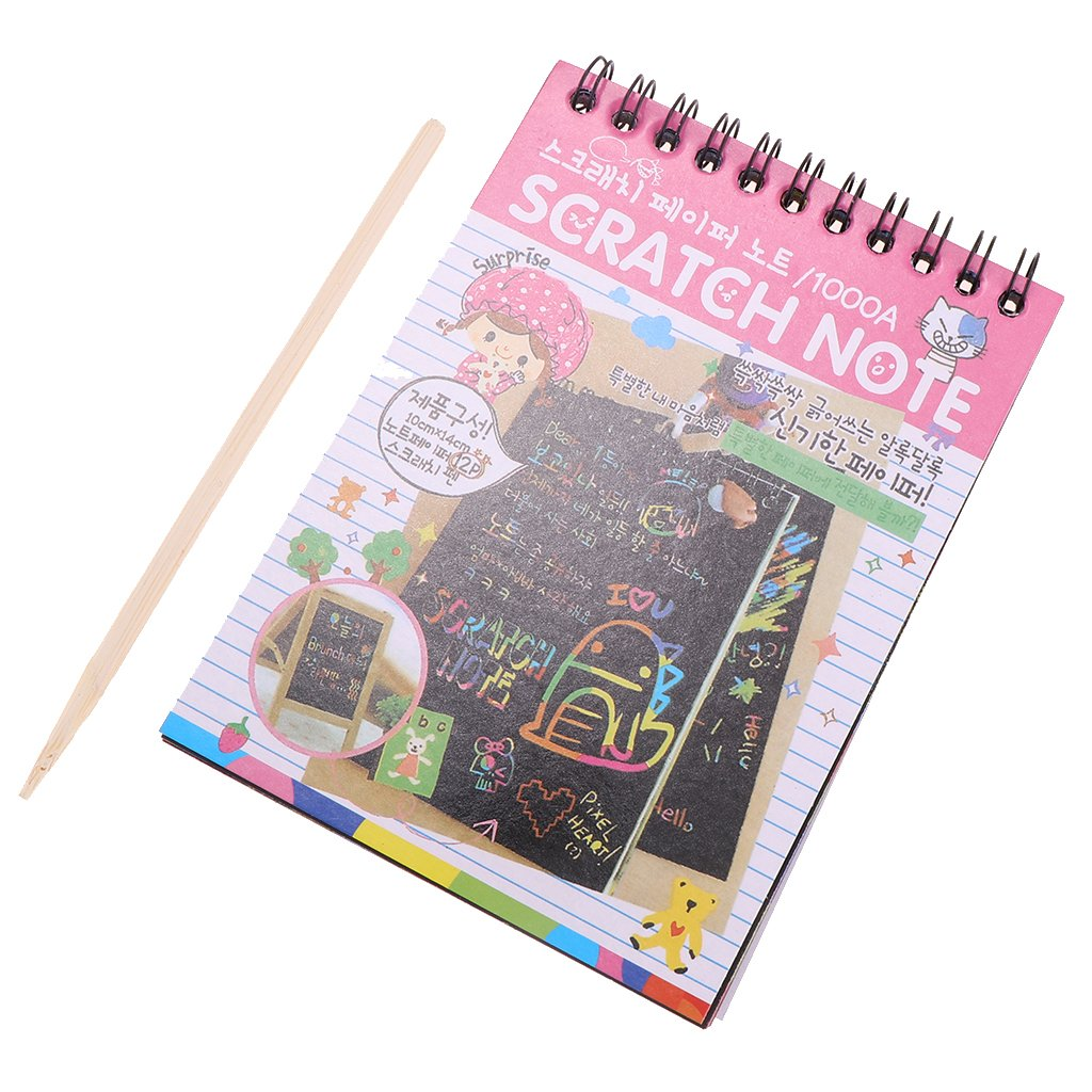 Baoblaze 5 Pieces Rainbow Scratch Pad Kawaii Children's Craft Scratch Book DIY Sketchbooks for Fun - Pink by Baoblaze (Image #5)
