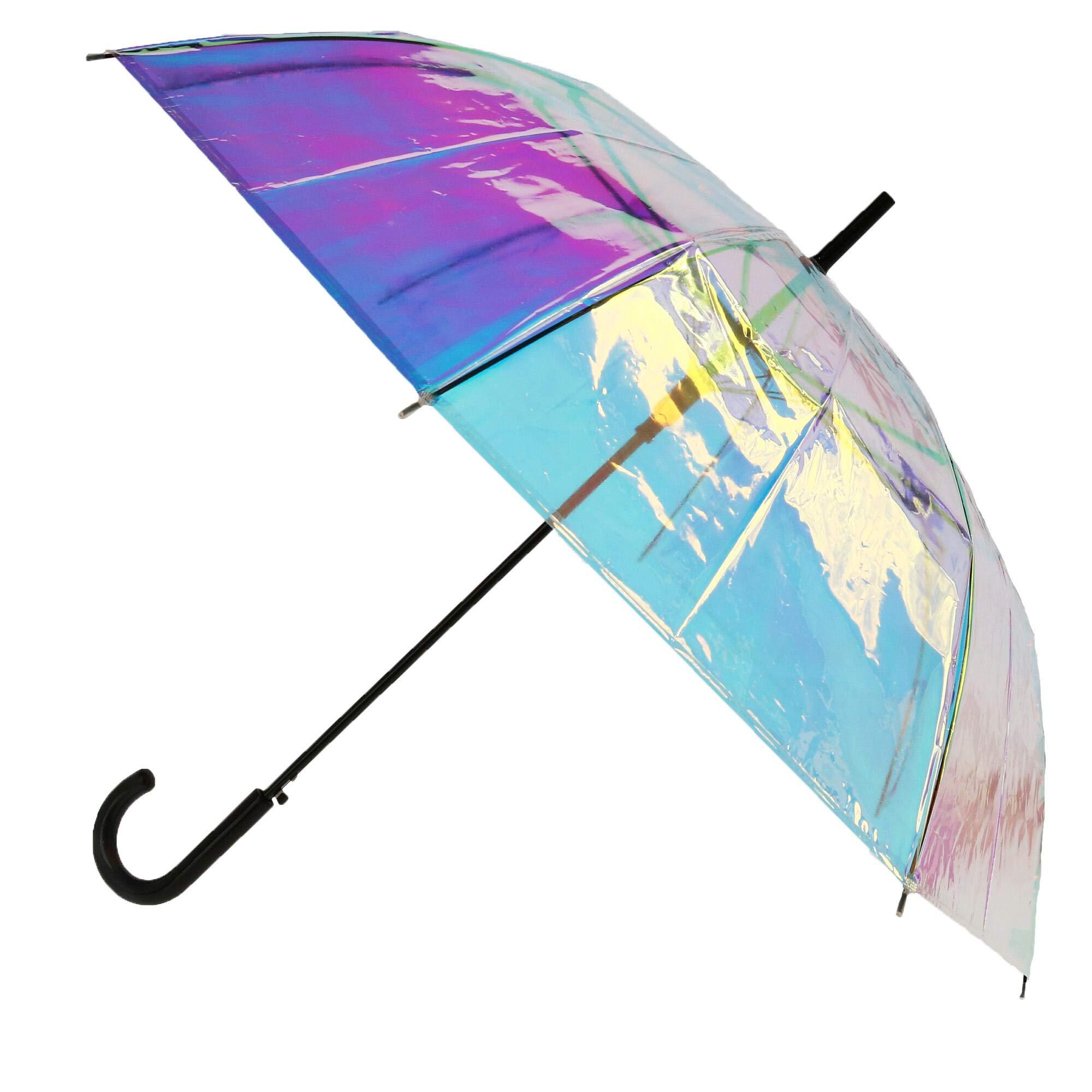 CTM Women's Iridescent Stick Umbrella with Hook Handle, Iridescent