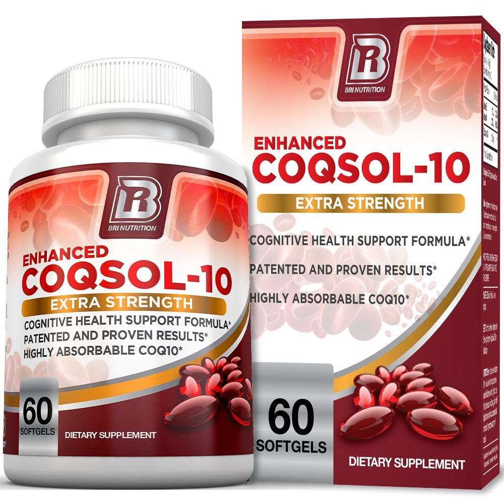 BRI Nutrition COQ10 100mg Ubiquinone Heart Health - 2.6x Higher Total Coenzyme Q10 COQSOL Absorption than normal COQ10 100mg Maximum Strength Supplement - 60 Day Supply 60 Softgels